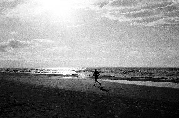 日の光のあたる海辺を走る写真