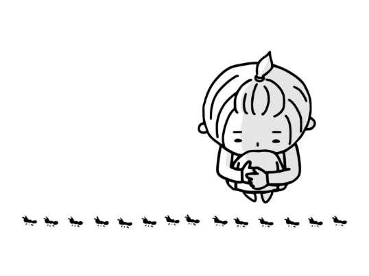 いじけてしゃがみ込みアリの行列を見る女の子の絵